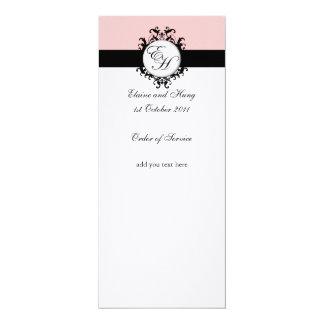 Programa cor-de-rosa chique do casamento tema convite 10.16 x 23.49cm