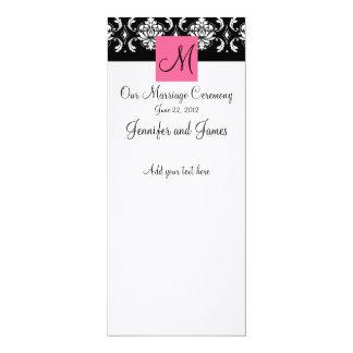 Programa cor-de-rosa da igreja do casamento tema convite 10.16 x 23.49cm
