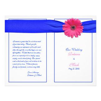 Programa cor-de-rosa do casamento da fita azul da flyer 21.59 x 27.94cm