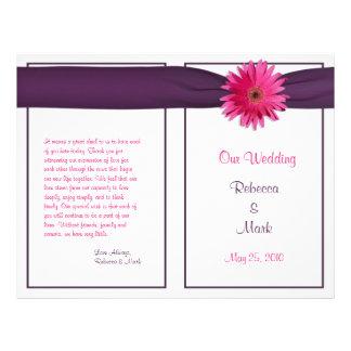 Programa cor-de-rosa do casamento da fita da flyer 21.59 x 27.94cm