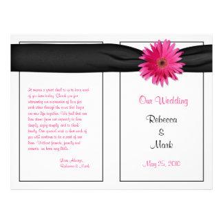 Programa cor-de-rosa do casamento da fita do preto flyer 21.59 x 27.94cm