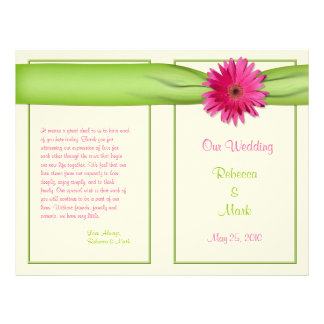 Programa cor-de-rosa do casamento da fita do verde flyer 21.59 x 27.94cm