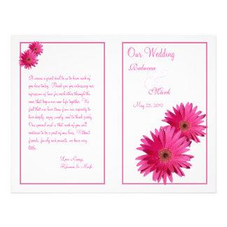 Programa cor-de-rosa do casamento da flor da flyer 21.59 x 27.94cm