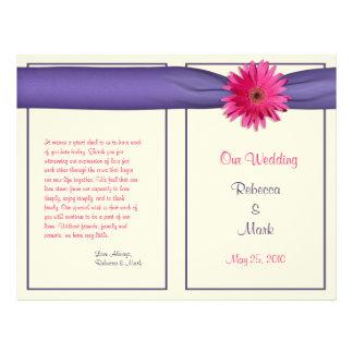 Programa cor-de-rosa do casamento da margarida do  modelo de panfleto