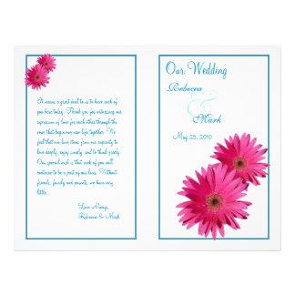 Programa cor-de-rosa do casamento da margarida do panfletos