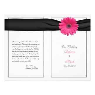 Programa cor-de-rosa do casamento da margarida do  panfleto personalizado