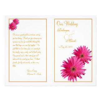 Programa cor-de-rosa do casamento da margarida do panfleto coloridos
