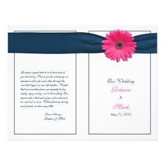 Programa cor-de-rosa do casamento da margarida do  modelos de panfleto