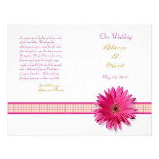 Programa cor-de-rosa do casamento da margarida do panfletos coloridos