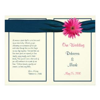 Programa cor-de-rosa do casamento da margarida do panfletos personalizado