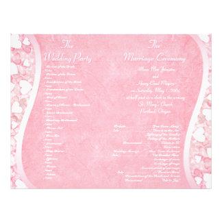 Programa cor-de-rosa do casamento do encanto do de panfleto