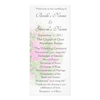 Programa cor-de-rosa do casamento do Phlox 10.16 X 22.86cm Panfleto