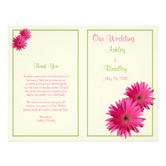 Programa cor-de-rosa do casamento do verde da flyer 21.59 x 27.94cm