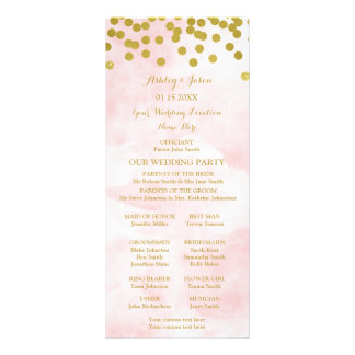 Programa cor-de-rosa do casamento dos confetes do panfleto