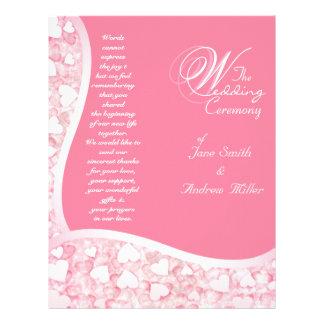 Programa cor-de-rosa do casamento panfleto coloridos