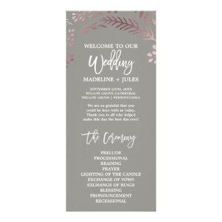 Programa cor-de-rosa elegante do casamento do ouro panfleto