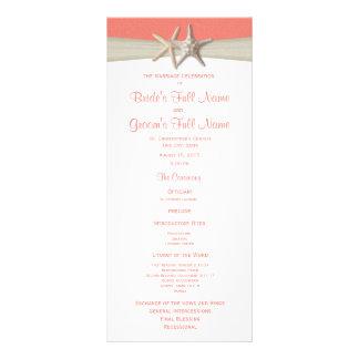 Programa coral do casamento de praia da estrela do 10.16 x 22.86cm panfleto