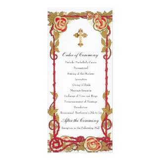 Programa cristão cor-de-rosa do casamento do 10.16 x 22.86cm panfleto