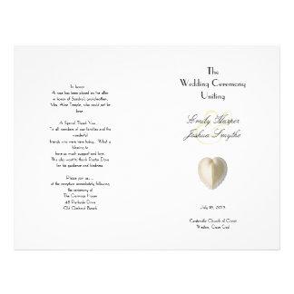 Programa da cerimónia de casamento da praia do modelo de panfletos