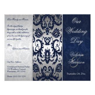 Programa da prata e do casamento tema damasco dos flyer