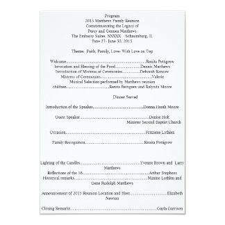Programa da reunião de família convite 12.7 x 17.78cm