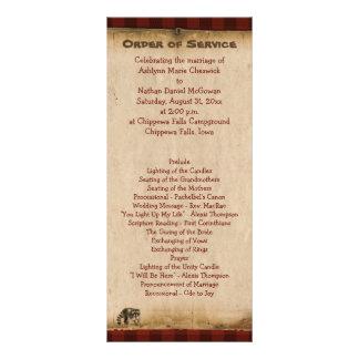 Programa de acampamento rústico do casamento da na 10.16 x 22.86cm panfleto