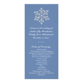 Programa de cristal invernal do casamento do floco 10.16 x 22.86cm panfleto
