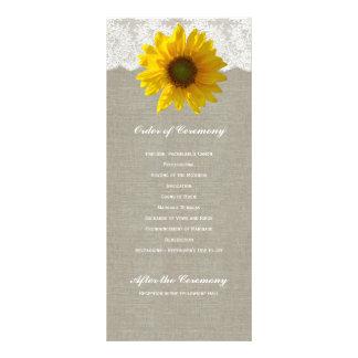 Programa de linho do casamento do laço do girassol 10.16 x 22.86cm panfleto