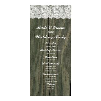 Programa de madeira cinzento do casamento do laço  10.16 x 22.86cm panfleto