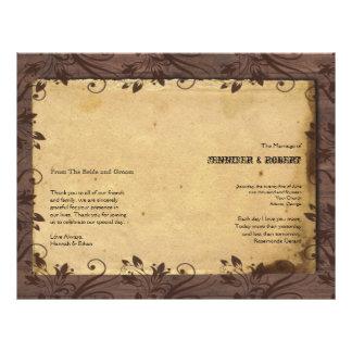 Programa de madeira do casamento do celeiro panfleto personalizados