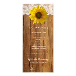 Programa de madeira do casamento do laço do girass 10.16 x 22.86cm panfleto