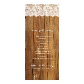 Programa de madeira do casamento do laço do vintag 10.16 x 22.86cm panfleto