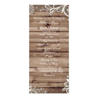 programa de madeira do casamento do país do 10.16 x 22.86cm panfleto