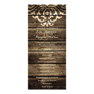 Programa de madeira do casamento vintage do 10.16 x 22.86cm panfleto