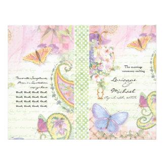 Programa do casamento - asas da coleção do amor panfletos personalizado