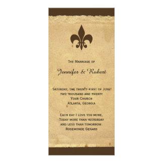 Programa do casamento da flor de lis do vintage 10.16 x 22.86cm panfleto
