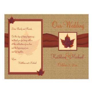 Programa do casamento da folha do outono flyer 21.59 x 27.94cm