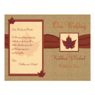 Programa do casamento da folha do outono