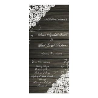 Programa do casamento da madeira e do laço do cele 10.16 x 22.86cm panfleto
