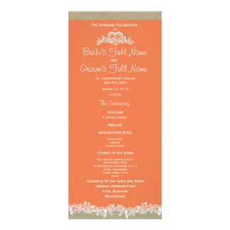 Programa do casamento da tangerina e da serapilhei 10.16 x 22.86cm panfleto