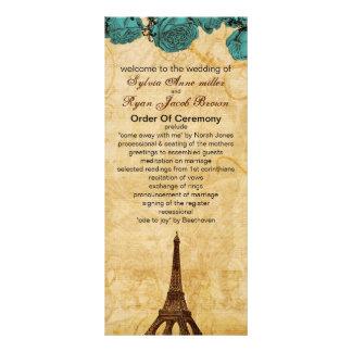 programa do casamento de Paris da torre Eiffel do Panfleto