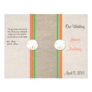 Programa do casamento de praia do dólar de areia - modelo de panfleto