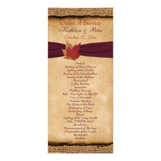 Programa do casamento de serapilheira do FALSO das 10.16 X 22.86cm Panfleto