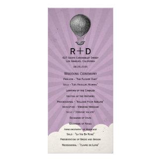 Programa do casamento do balão de ar quente do vin panfleto informativo