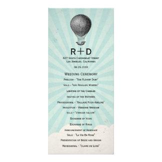 Programa do casamento do balão de ar quente do vin panfleto personalizado