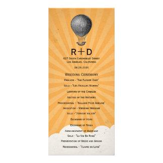 Programa do casamento do balão de ar quente do vin panfletos informativos personalizados