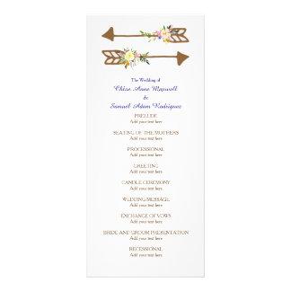 Programa do casamento do buquê floral do pêssego 10.16 x 22.86cm panfleto