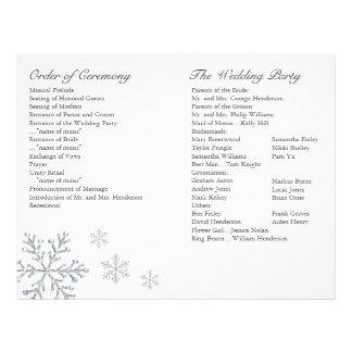 Programa do casamento do floco de neve do inverno panfleto personalizados