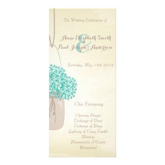 Programa do casamento do hydrangea da hortelã do f 10.16 x 22.86cm panfleto