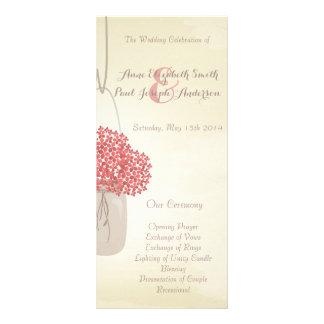 Programa do casamento do hydrangea do frasco de pe 10.16 x 22.86cm panfleto